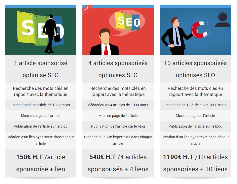 tarifs consultant seo articles sponsorises pour entreprise